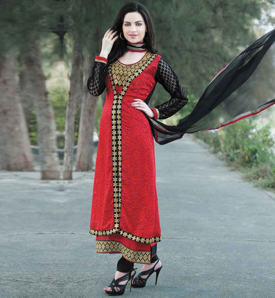 EVERSTYLISH PARTY WEAR BRASSO SALWAR KAMEEZ WITH CHIFFON DUPATTA