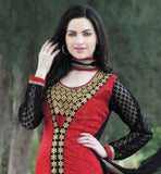 ATTRACTIVE RED PARTY WEAR KURTI WITH BLACK SALWAR AND DUPATTA