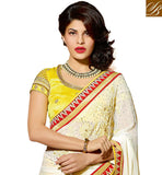 EXECELLENT OFF WHITE AND YELLOW GEORGEETTE SATIN JACQUARD BOLLYWOOD FASHION SAREE WITH OFF WHITE DHUPION RAW SILK BLOUSE FANTASTIC RESHAM EMBROIDERY DESIGNER BOLLYWOOD SAREES AND ALSO TIP TOP STONE WORK WITH AMAZING LACE BORDER