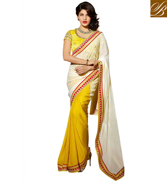 BOLLYWOOD BLOUSE DESIGNS FOR JACQUELINE QUEEN OF CELEBRITIES IN SAREE EXECELLENT OFF WHITE AND YELLOW GEORGEETTE SATIN JACQUARD BOLLYWOOD FASHION SAREE WITH OFF WHITE DHUPION RAW SILK BLOUSE