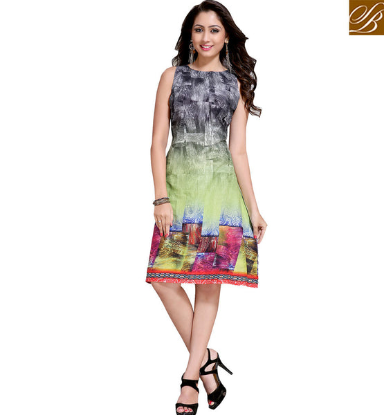 STYLISH BAZAAR MAJESTIC ONLINE ABSTRACT DESIGN SLEEVELESS KURTI VDMBL10102