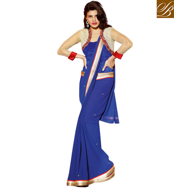 JACQUELINE FERNANDEZ QUEEN OF CELEBRITIES IN HOT SAREE BLOUSE DESIGNS SUPER BLUE GEORGETTE DESIGNER SAREES WITH BLUE DHUPION, NET AND VELVET FABRIC BLOUSE