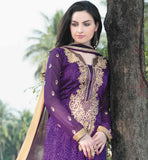 DELIGHTFUL PURPLE SALWAR SUIT WITH SHADED CHIFFON DUPATTA