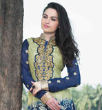 ELEGANT BLUE AND BEIGE SHADED CHINESE COLLAR SALWAR SUIT