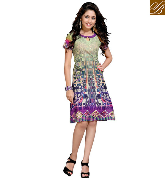 STYLISH BAZAAR APPEALING DESIGNER ABSTRACT DESIGN COTTON KURTI VDMBL10107