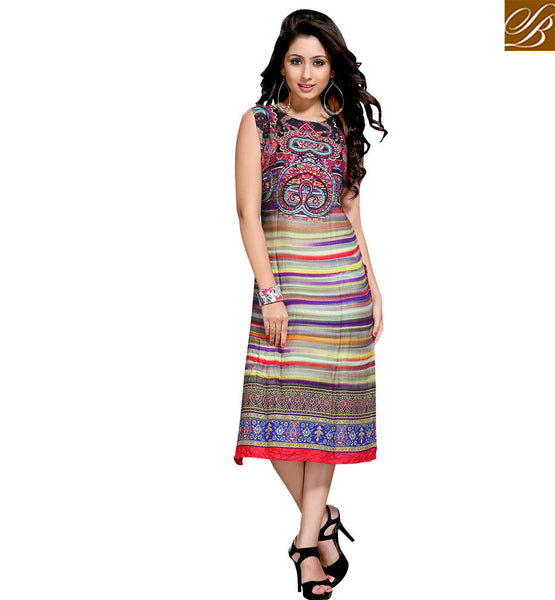 STYLISH BAZAAR ADMIRABLE SLEEVELESS INDO WESTERN STYLE KURTI VDMBL10108