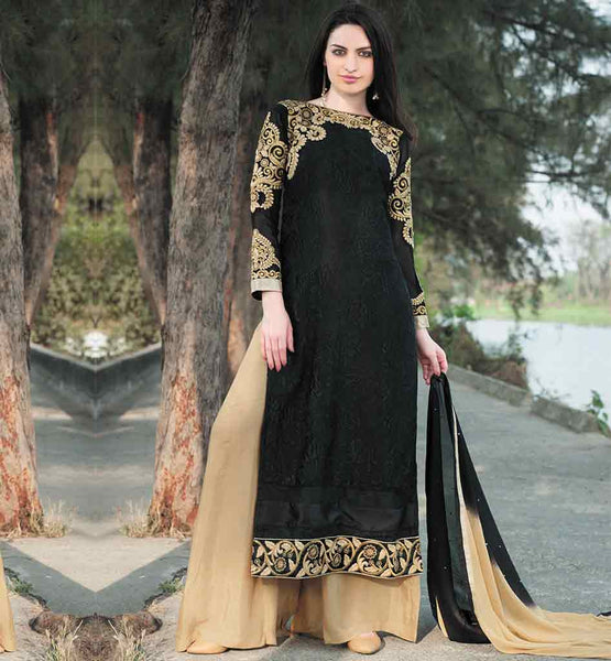 EVERSTYLISH PALAZZO STYLE SALWAR KAMEEZ DRESS DESIGN PATTERNS ANARKALI STYLE LONG KURTI WITH PALAZZO STYLE SALWAR IMAGE