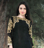 EXQUISITE BLACK LONG KURTI WITH PALAZZO STYLE SALWAR