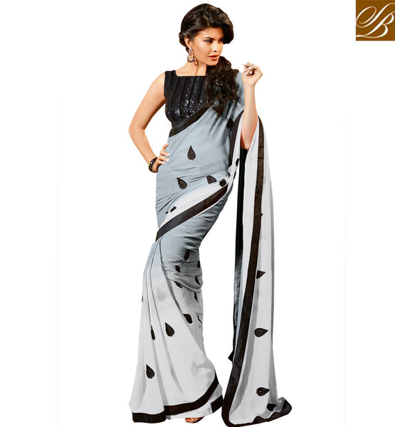 JACQUELINE FERNANDEZ IN CELEBRITY BLOUSES PATTERNED FOR SAREE DRAPE STYLE SIMPLE GREY GEORGETTE OCCASIONAL SAREE WITH BLACK DHUPION DESIGNER BLOUSE