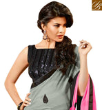 LOVELY GREY AND PINK GEORGETTE OCCASIONAL SAREE WITH BLACK DESIGNER DHUPION BLOUSE TIP TOP LATEST SEQUINCE BUTTI WORK AND SATIN LACE BORDER WORK BOLLYWOOD SAREE ONLINE SHOPPING