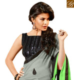 GREY AND GREEN GEORGETTE OCCASIONAL SAREE WITH BLACK DHUPION SMART LOOK BLOUSE WONDERFUL SEQUINCE BUTTI WITH GLORIOUS SATIN LACE BORDER WORK LOOK BOLLYWOOD DESIGNER SAREE