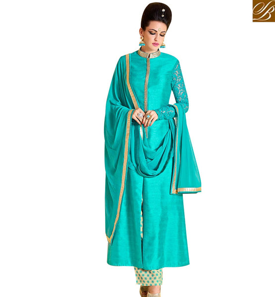 STYLISH BAZAAR BEAUTIFUL SEA GREEN BHAGALPURI DESIGNER SALWAR KAMEEZ WITH PRINTED SANTOON BOTTOM NKNRA1010A