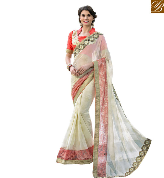 MARVELOUS SARI BLOUSE DESIGN FOR SPECIAL EVENTS RTSHD1010  SAREE CREAM