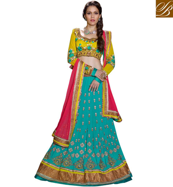 EYE-CATCHING 3PC FIROZI & GREEN WEDDING ANMOL COLLECTION LENGHA CHOLI ANSHE1010
