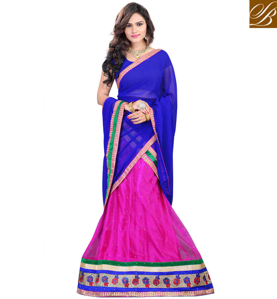 LENGHA BLOUSE STYLE GHAGRA CHOLI DRESS ONLINE SHOPPING INDIA PINK NET LEHENGA WITH JACQUARD CHOLI AND BLUE CHIFFON HALF-SAREE
