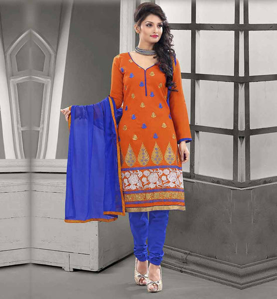 LATEST STYLISH PATTERN OF LONG SLEEVE DRESSES  CHANDERI COTTON ORANGE STRAIGHT CUT SUIT WITH BLUE SALWAR AND CHIFFON DUPATTA