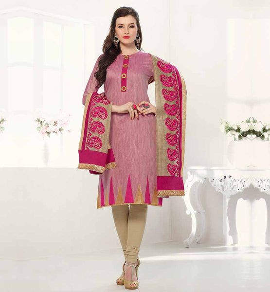 LATEST DESIGNER OFFICE WEAR SALWAR KAMEEZ 2015 PINK BANARASI CHANDERI FABRIC KAMEEZ WITH EMBROIDERY WORK ON HEMLINE
