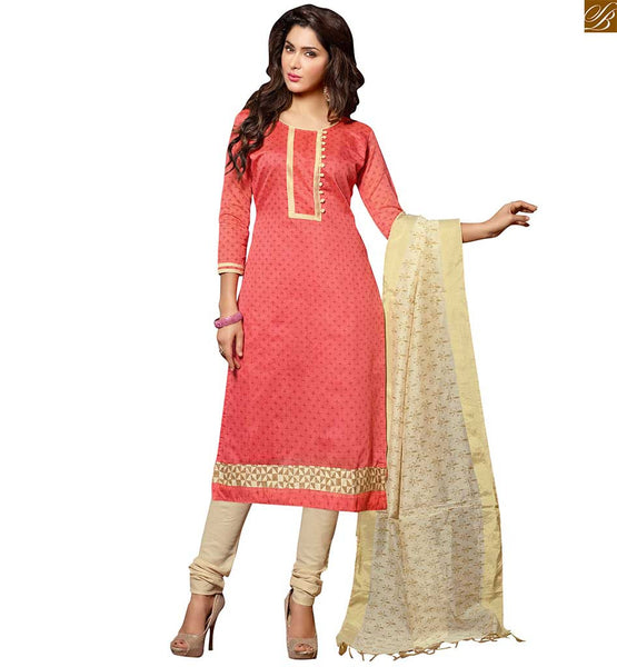 New punjabi suit design of casual wear dresses shalwar kameez peach chanderi-cotton floral printed salwar kameez with border work and cream cotton churidar bottom Image