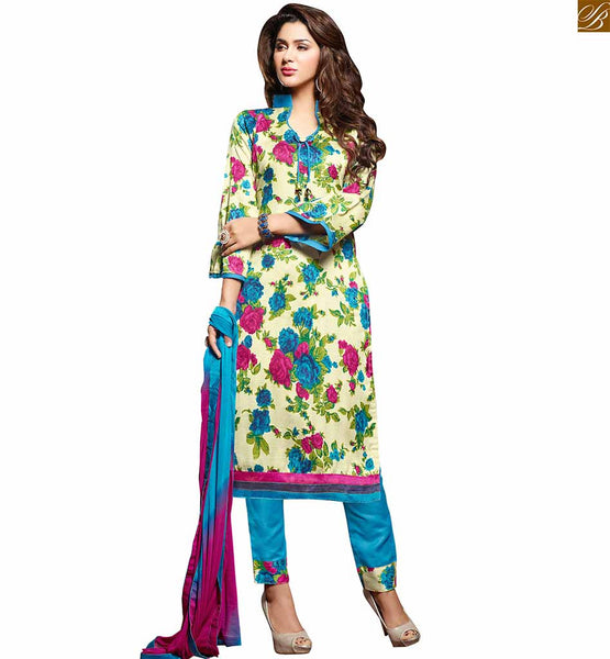 Punjabi salwar suit boutique style designer knee length kameez cream bhagalpuri-silk amazing floral printed dress with border work and sky-blue cotton bottom Photo
