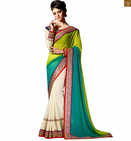 STYLISH BAZAAR ADMIRABLE GREEN AND CREAM HALF AND HALF DESIGNER SAREE RTREX1011