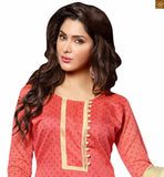 New punjabi suit design of good-looking casual wear dresses shalwar kameez for indian women peach chanderi-cotton floral printed salwar kameez with border work and cream cotton churidar bottom photo