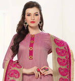 PINK BANARASI CHANDERI FABRIC KAMEEZ WITH EMBROIDERY WORK ON HEMLINE BEIGE CHURIDAR BOTTOM WITH LINEN EMBROIDERED BOTTOM