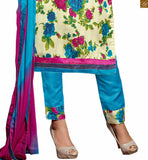 Cream bhagalpuri-silk amazing floral printed dress with border work and sky-blue cotton bottom Pic