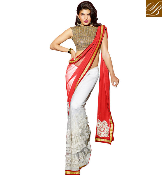HALF SAREE MODELS AND PRINCESS CUT BLOUSE DESIGNS 2015 BEST DRESS TERRIFIC ORANGE AND OFF WHITE GEORGETTE PARTY WEAR SAREE WITH CREAM DHUPION DESIGNER BLOUSE