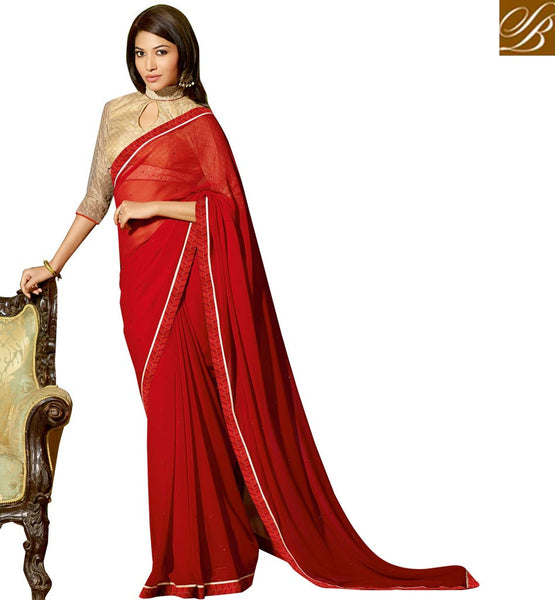 BLOUSE DESIGNS WITH BORDER  FOR BEAUTIFUL INDIAN WOMEN IN SAREE MARVELLOUS RED GEORGETTE PARTY WEAR SAREE WITH CHIKOO DHUPION DESIGNER BLOUSE