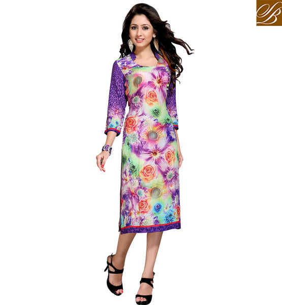 FROM THE HOUSE OF STYLISH BAZAAR LOVELY DIGITAL FLOWER PATTERN DESIGNER KURTI VDMBL10114