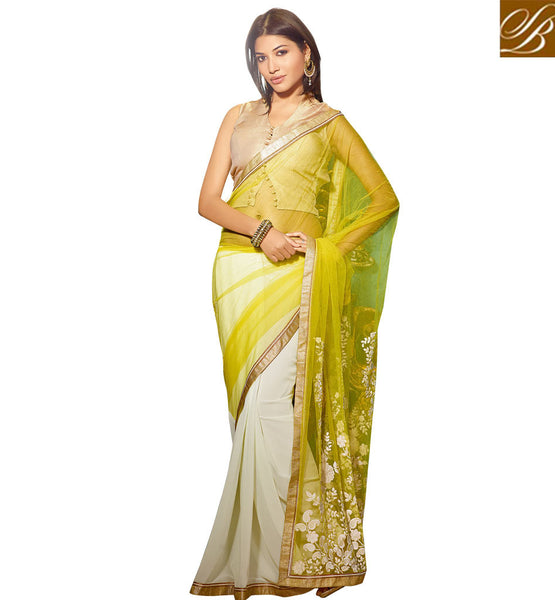 BLOUSE DESIGNS 2015 BEST AND BEAUTIFUL INDIAN WOMENS IN SAREES SIMPLE YELLOW AND OFF WHITE NET WITH GEORGETTE FABRIC PARTY WEAR SAREE AND CHIKOO DHUPION DESIGNER BLOUSE