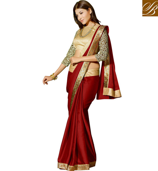 STYLISH BLOUSE DESIGN FOR BEAUTIFUL WOMEN IN SAREE DRAPY WEAR BEST MAROON SATIN GEORGETTE PARTY WEAR SAREE WITH CHIKOO DHUPION SIMPLE BLOUSE