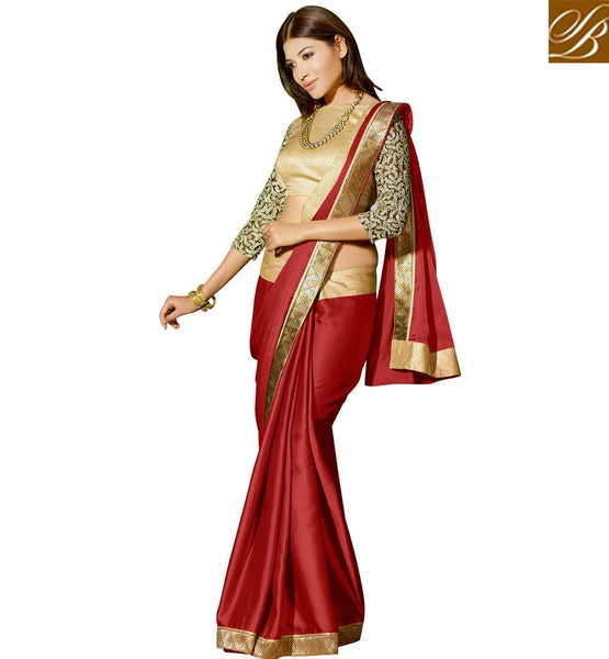 STYLISH AND BEST BLOUSE DESIGNS OF TRENDY SAREES SHOP ONLINE INDIA LATEST RED SATIN GEORGETTE PARTY WEAR WITH CHIKOO GEORGETTE DESIGNER BLOUSE