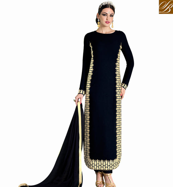 STYLISH BAZAAR LOVELY BLACK GEORGETTE HEAVY EMBROIDERED DESIGNER SALWAR KAMEEZ WITH BLACK CHIFFON DUPATTA NKNRA1011A