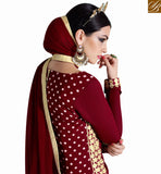 STYLISH BAZAAR LOVELY MAROON GEORGETTE HEAVY EMBROIDERED DESIGNER SALWAR KAMEEZ WITH MAROON CHIFFON DUPATTA NKNRA1011B