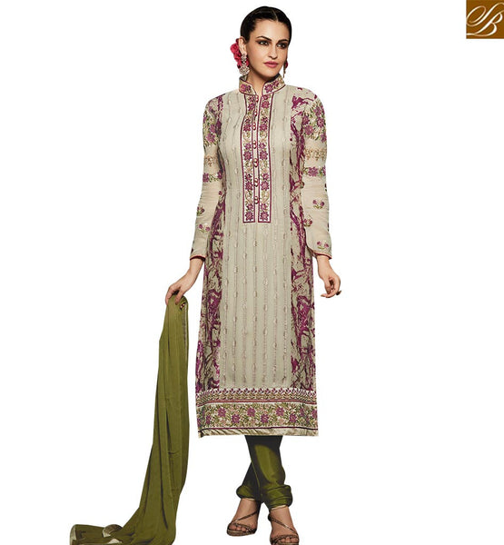 STYLISH BAZAAR STYLISH CREAM AND GREEN COLORED SUIT WITH BEAUTIFUL EMBROIDERED WORK RTMNK1011