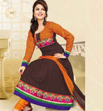 DAZZLING COFFEE COTTON ANARKALI SALWAR KAMEEZ DRESS WITH DUPATTA