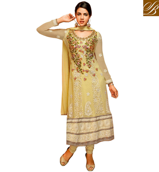 GEORGETTE SALWAR KAMEEZ WITH RICH FLORAL EMBROIDERED YOKE & DUPATTA