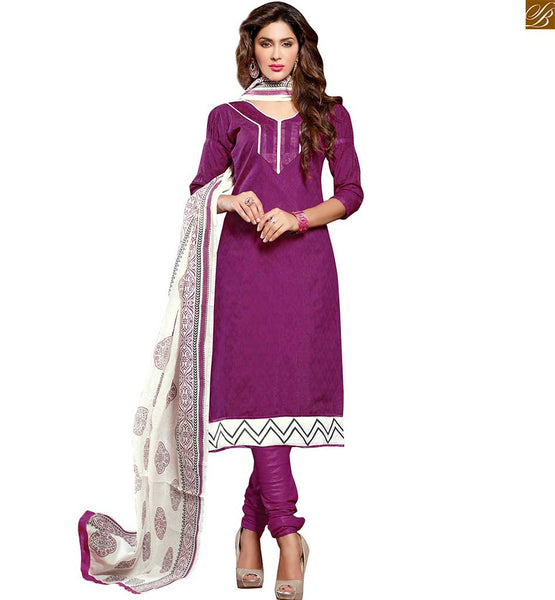 Cute dresses punjabi salwar kameez boutique style designer wear purple chanderi-cotton puff style sleeves dress with patch work and purple cotton churidar bottom Image