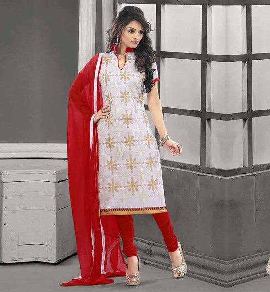 ETHNIC INDIAN CLOTHES DESIGNER SUITS FOR WOMEN  CHANDERI COTTON OFF-WHITE STRAIGHT CUT SUIT WITH RED SALWAR AND CHIFFON DUPATTA