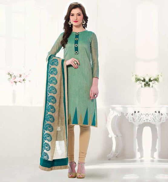 INDIAN OFFICE WEAR SALWAR KAMEEZ ONLINE SHOPPING BEIGE LINEN EMBROIDERED DUPATTA WITH EMBROIDERY WORK AND BORDER