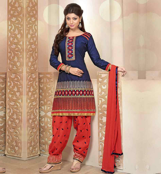 STYLISH SUITS 2015'S PATIALA SALWAR KAMEEZ DESIGNES CATALOGUE STYLE  DRESS | BLUE DESIGNER KURTI WITH ORANGE EMBROIDERED PATIALA SALWAR & NAZNEEN DUPATTA