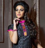BLACK CHANDERI COTTON TOP WITH PINK SANTOON BOTTOM AND SHADED NAZNEEN ODHNI GORGEOUS SUIT THAT HAS COLORFUL LACE PATCH ON NECKLINE AND HEMLINE WITH SUPERB FLOWER DESIGN EMBROIDERY AND BLACK THREAD WORK ALL OVER