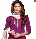 New collection of cute dresses punjabi salwar kameez. These designs sort of reflect the boutique style designer wear for women of today with regards to the casual wear purple chanderi-cotton puff style sleeves dress with patch work and purple cotton churidar bottom Pic