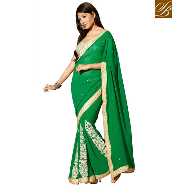 DESIGNER LATEST BLOUSE DESIGNS FOR NET SAREES PATTERNS OF BOUTIQUE STYLE SWEET GREEN GEORGETTE PARTY WEAR SAREE OFF WHITE DHUPION FANCY BLOUSE UNIQUE COLOR COMBINATION