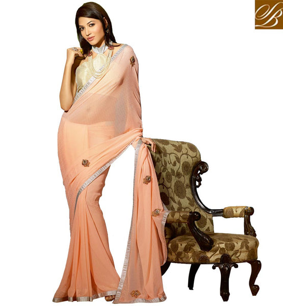 MODERN BLOUSE DESIGNS FOR SAREE WITH HEAVY BORDER INDIAN DRESS AMAZING PEACH ZARI GEORGETTE PARTY WEAR SAREE WITH CHIKOO DHUPION FANCY BLOUSE