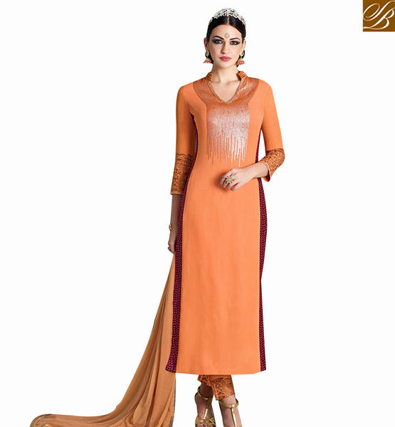STYLISH BAZAAR ORANGE GEORGETTE WITH GORGEOUS MAROON PRINTED GEORGETTE DESIGNER SUIT WITH SEQUENCE WORK NKNRA1012A