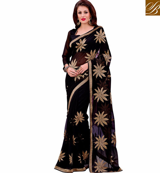 EXCEPTIONALLY WELL DESIGNED SAREE BLOUSE DESIGN FOR PARTIES VDMIZ1012 BY BLACK