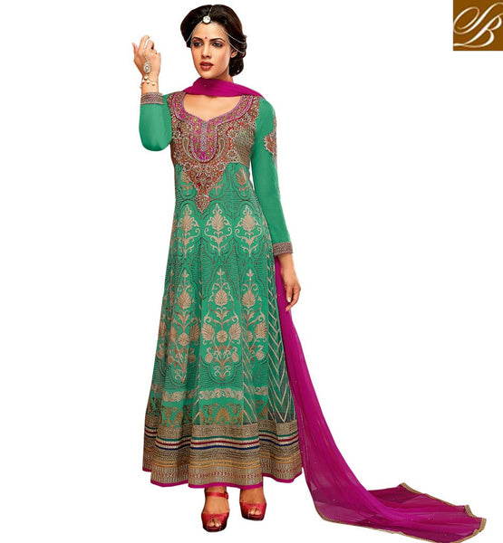 FULL EMBROIDERY COOL GREEN GEORGETTE & NET ANARKALI SALWAR KAMEEZ