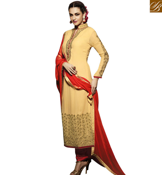 STYLISH BAZAAR MODISH CREAM AND RED COLORED DESIGNER SUIT WITH SPLENDID BORDER WORK RTMNK1012
